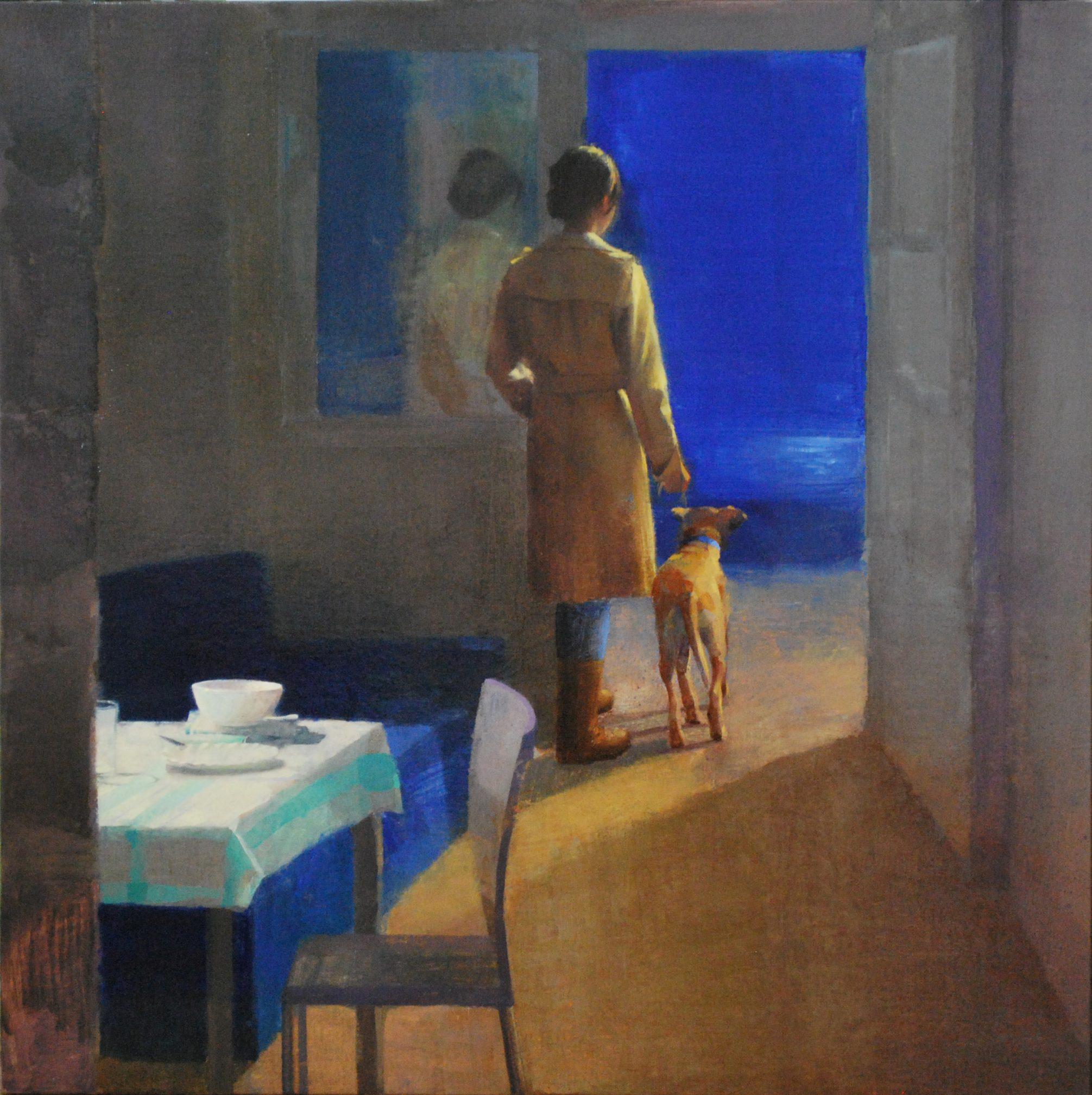 hora-del-paseo-alejandra-caballero-oleo-interior-mujer-saca-pasear-perro-noche-mar-mesa-luz