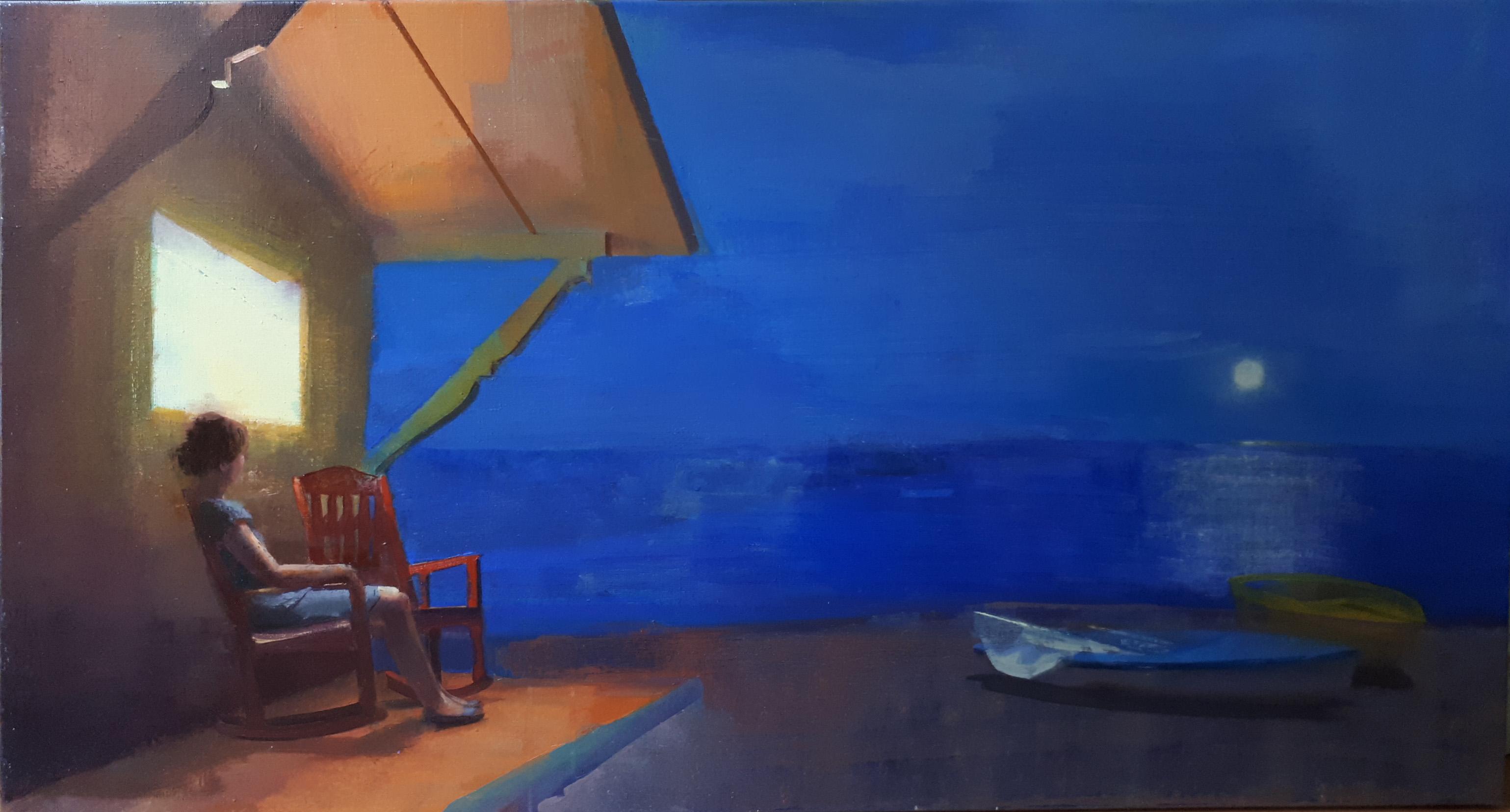 around-midnight-alejandra-caballero-oleo-mujer-sentada-porche-noche-mar-playa-barca