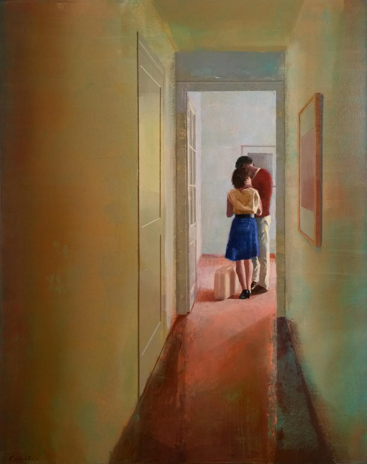 bienvenida-alejandra-caballero-oleo-interior-pasillo-pareja-enamorados-beso