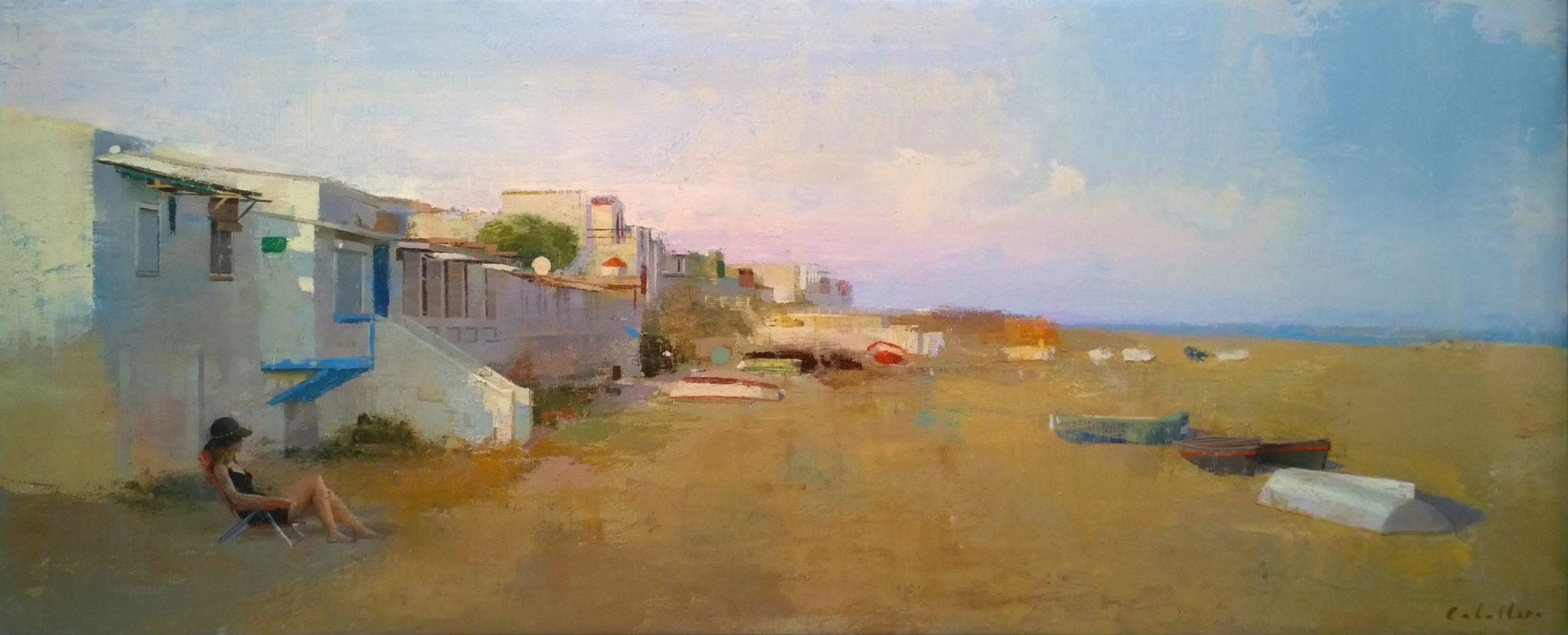 calma-alejandra-caballero-oleo-paisaje-playa-mar-barcas-mujer-montgat