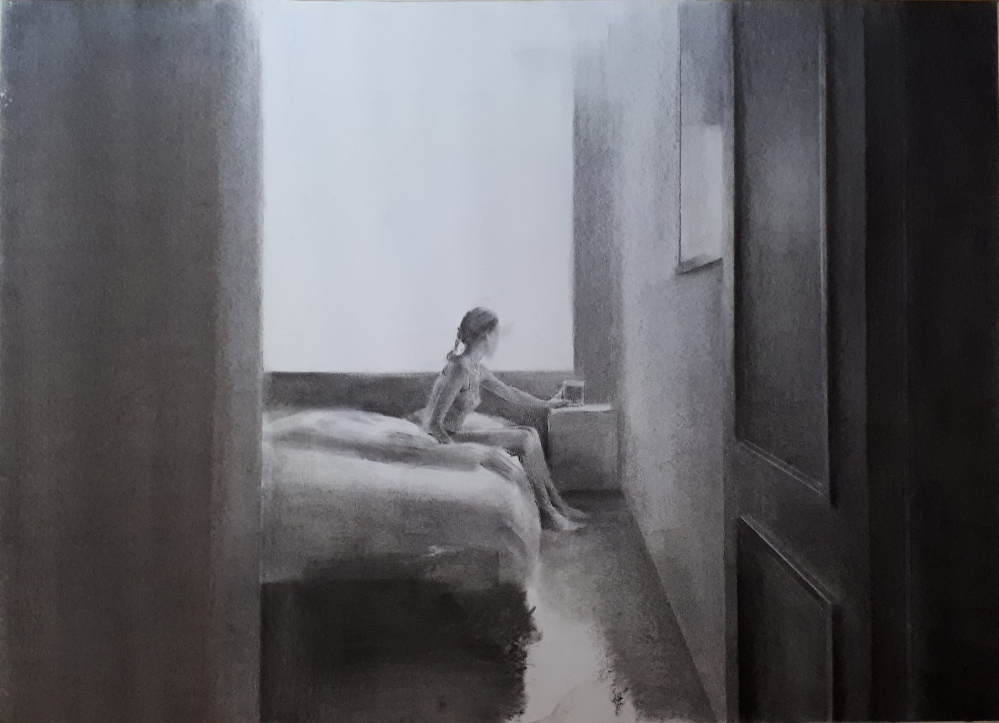 despertar-carboncillo-alejandra-caballero-interior-mujer-cama