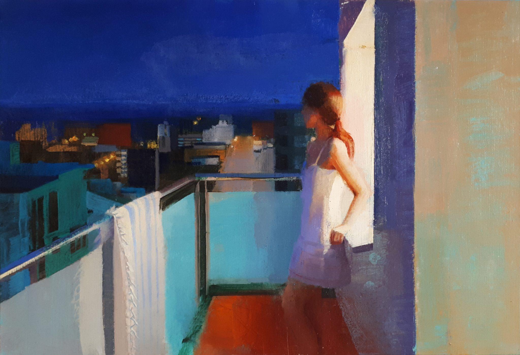 e-di-notte-alejandra-caballero-oleo-noche-ciudad-mar-mujer-terraza