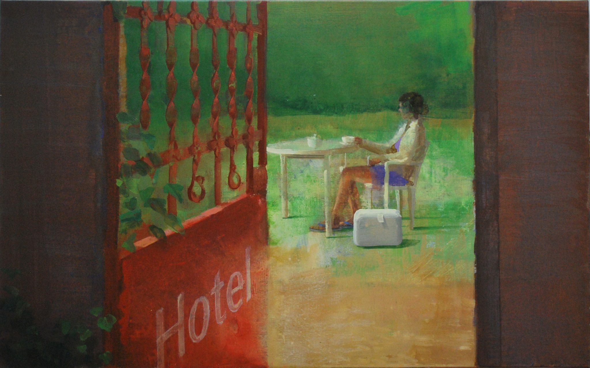 hotel-viaje-alejandra-caballero-oleo-mujer-tomando-maleta-puerta-abierta