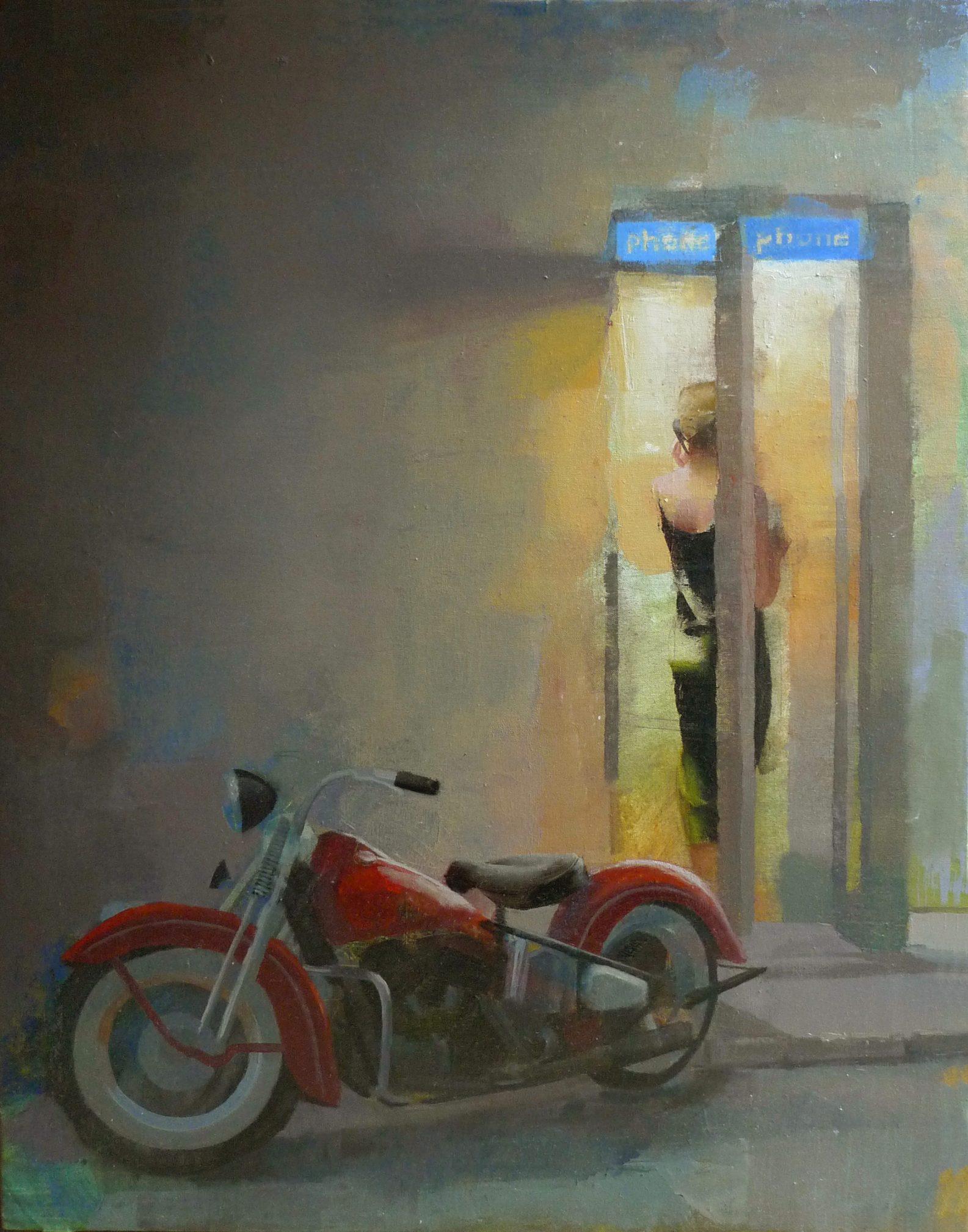la-llamada-alejandra-caballero-oleo-mujer-hablando-telefono-moto-noche