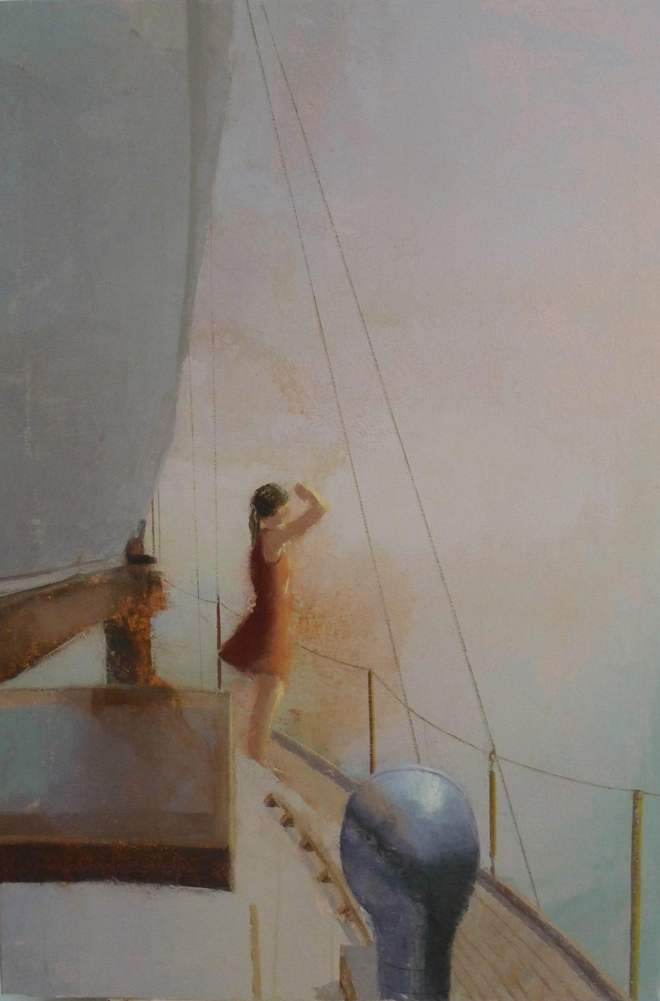 mist-alejandra-caballero-oleo-barco-mar-mujer-horizonte-niebla
