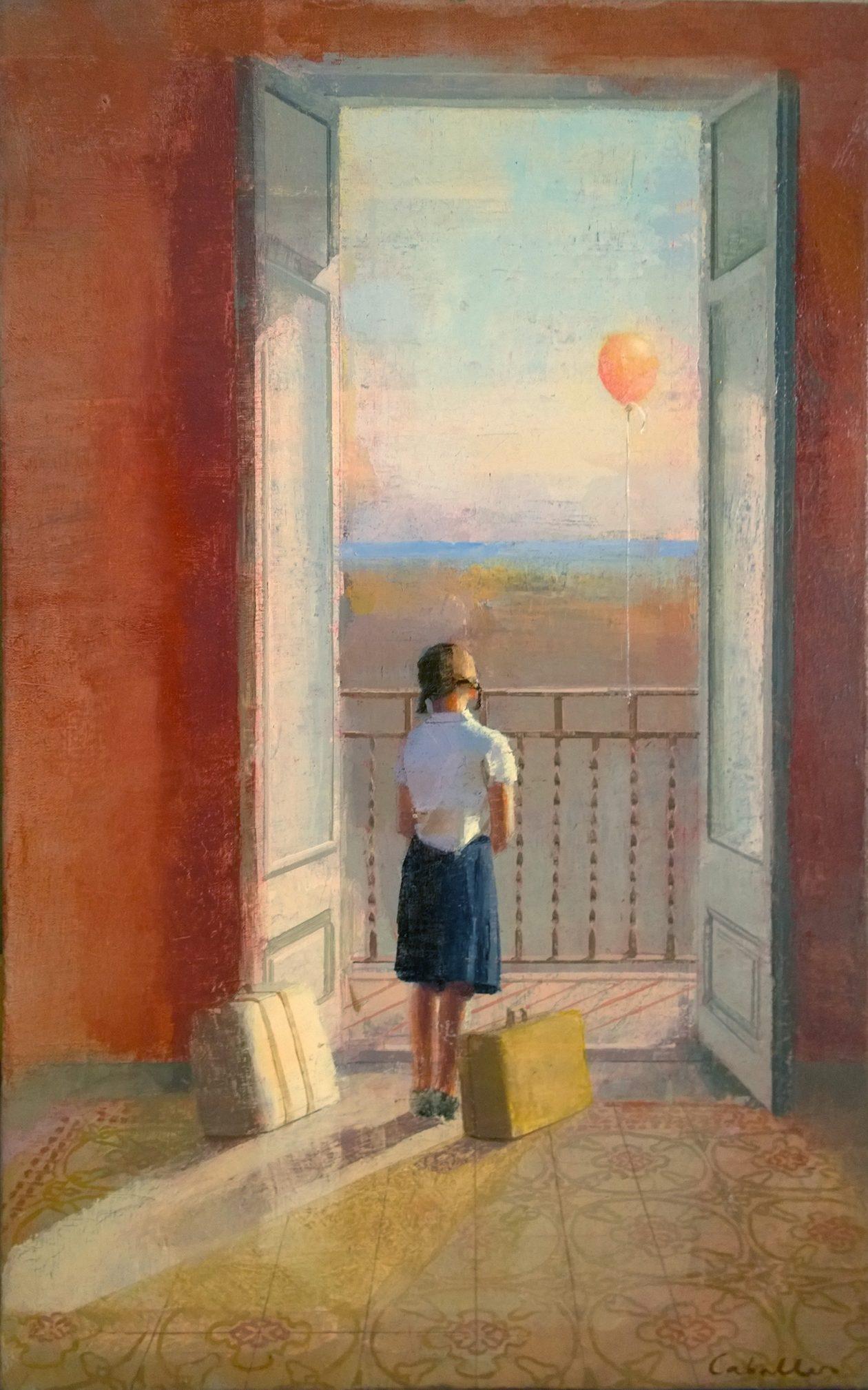 mudanza-alejandra-caballero-oleo-interior-balcon-abierto-niña-maletas-globo-playa-mar
