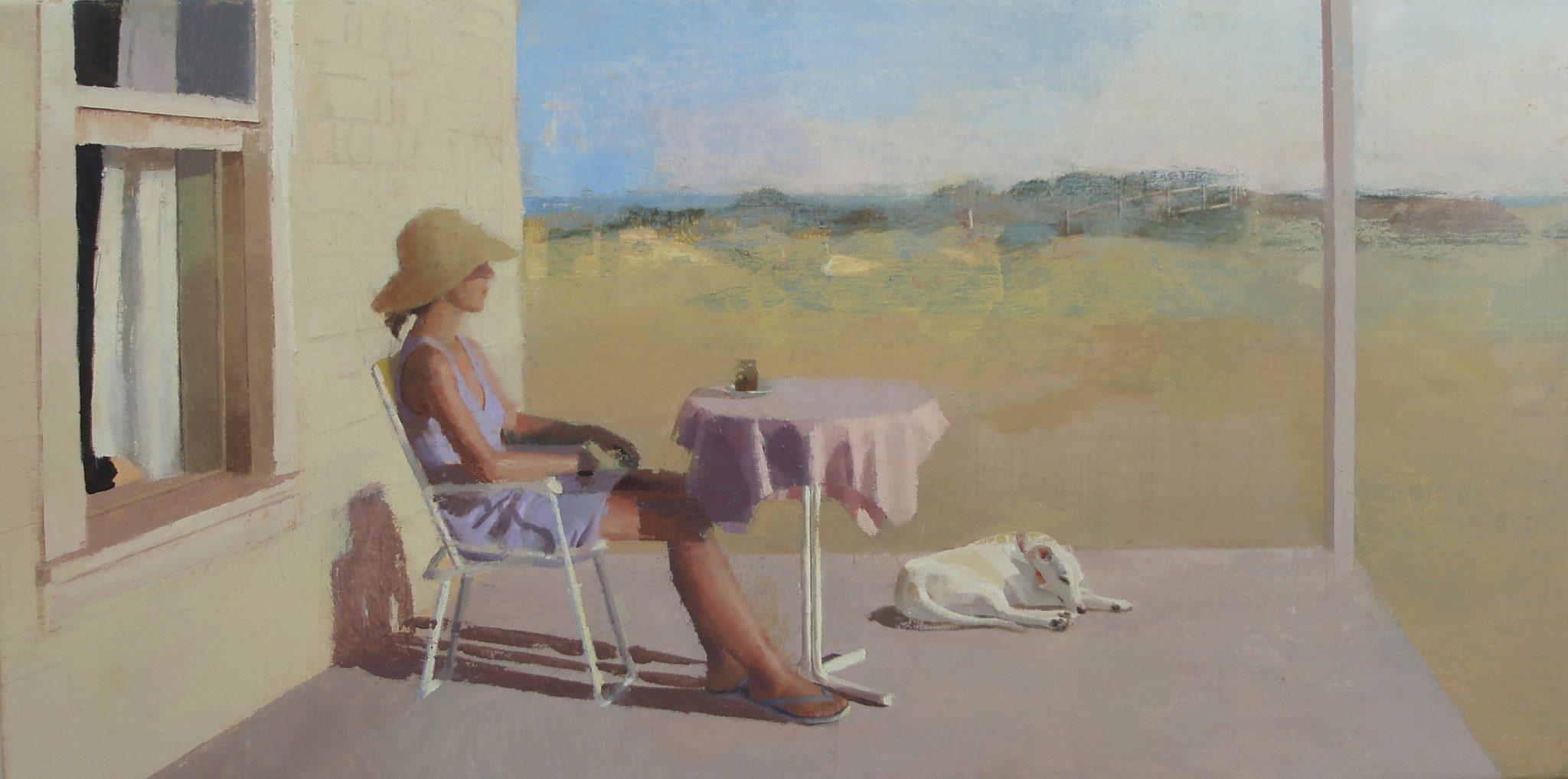 porche-alejandra-caballero-oleo-mujer-perro-vacaciones-verano-sol-playa