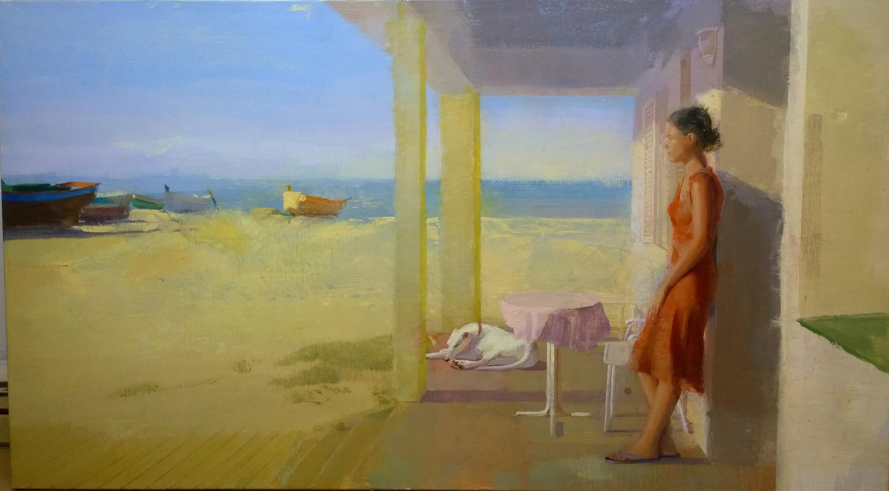 porche-alejandra-caballero-oleo-mujer-vestido-rojo-perro-barcas-playa-mar