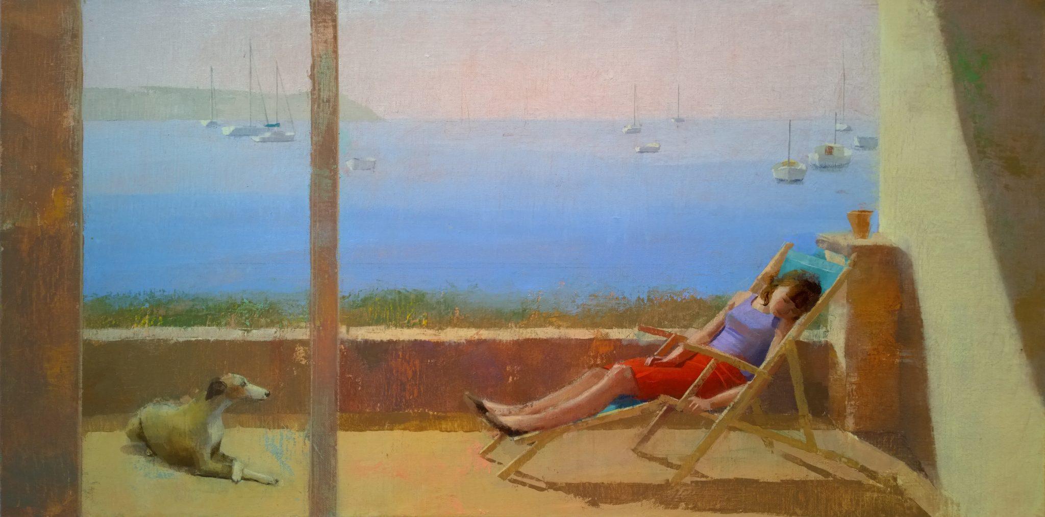siesta-alejandra-caballero-oleo-ventana-paisaje-mujer-durmiendo-mar-perro-luz-sol