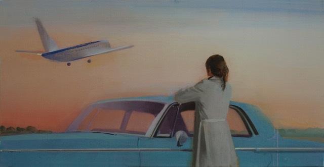 takeoff-alejandra-caballero-oleo-viaje-avión-coche-mujer-espaldas