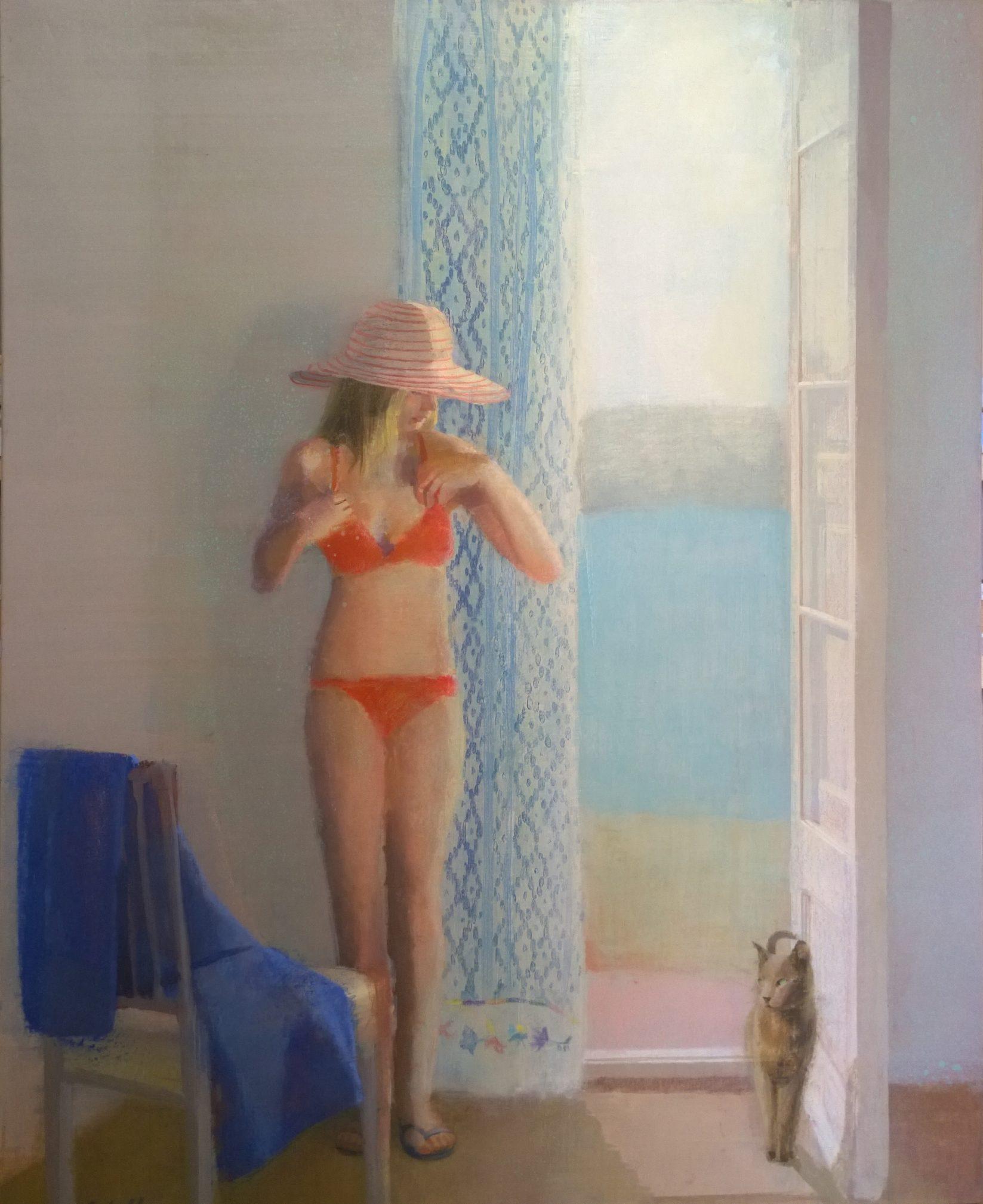 vamos-a-la-playa-alejandra-caballero-oleo-mujer-bikini-rojo-balcóm-abierto-mar-gato