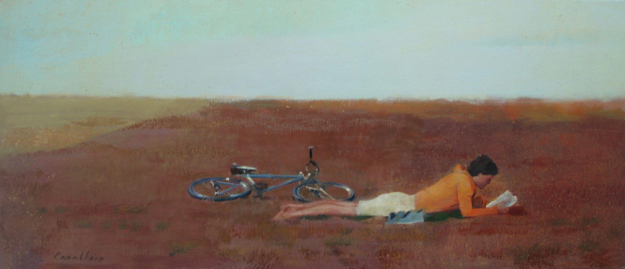 versos-alejandra-caballero-oleo-hombre-tumbado-boca-abajo-leyendo-bicicleta-paisaje