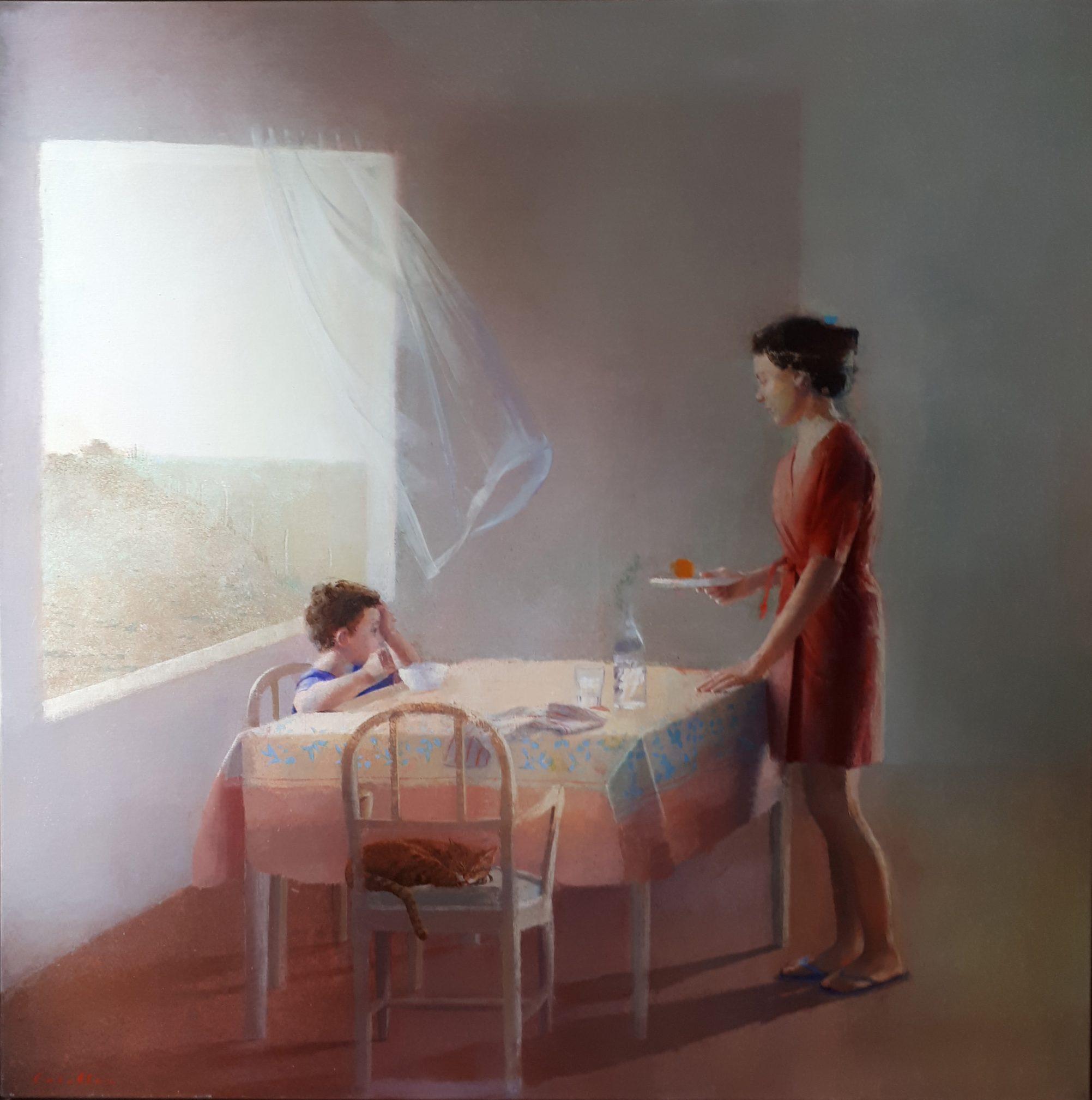 tramontana-alejandra-caballero-oleo-interior-madre-hijo-desayuno-mesa-gato-cortina-viento-andrew-wieth