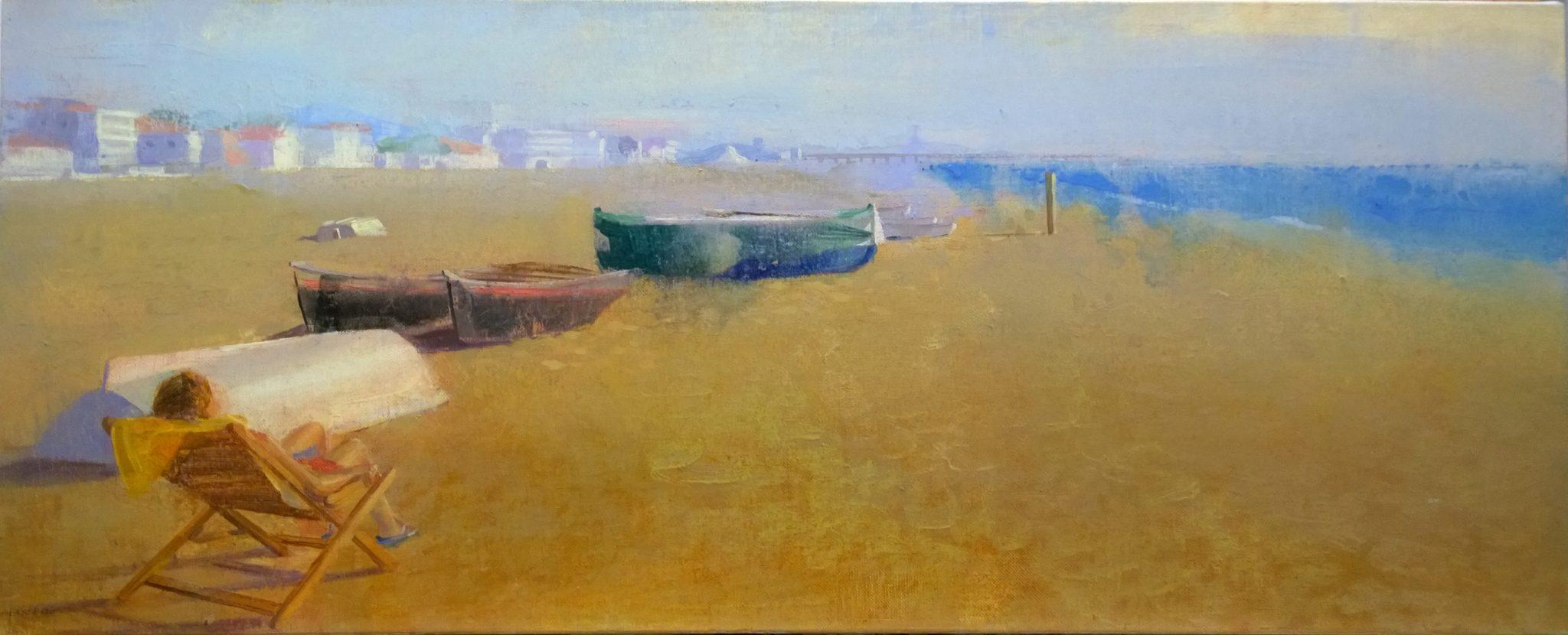 barcas-alejandra-caballero-oleo-barcas-playa-mar-mujer
