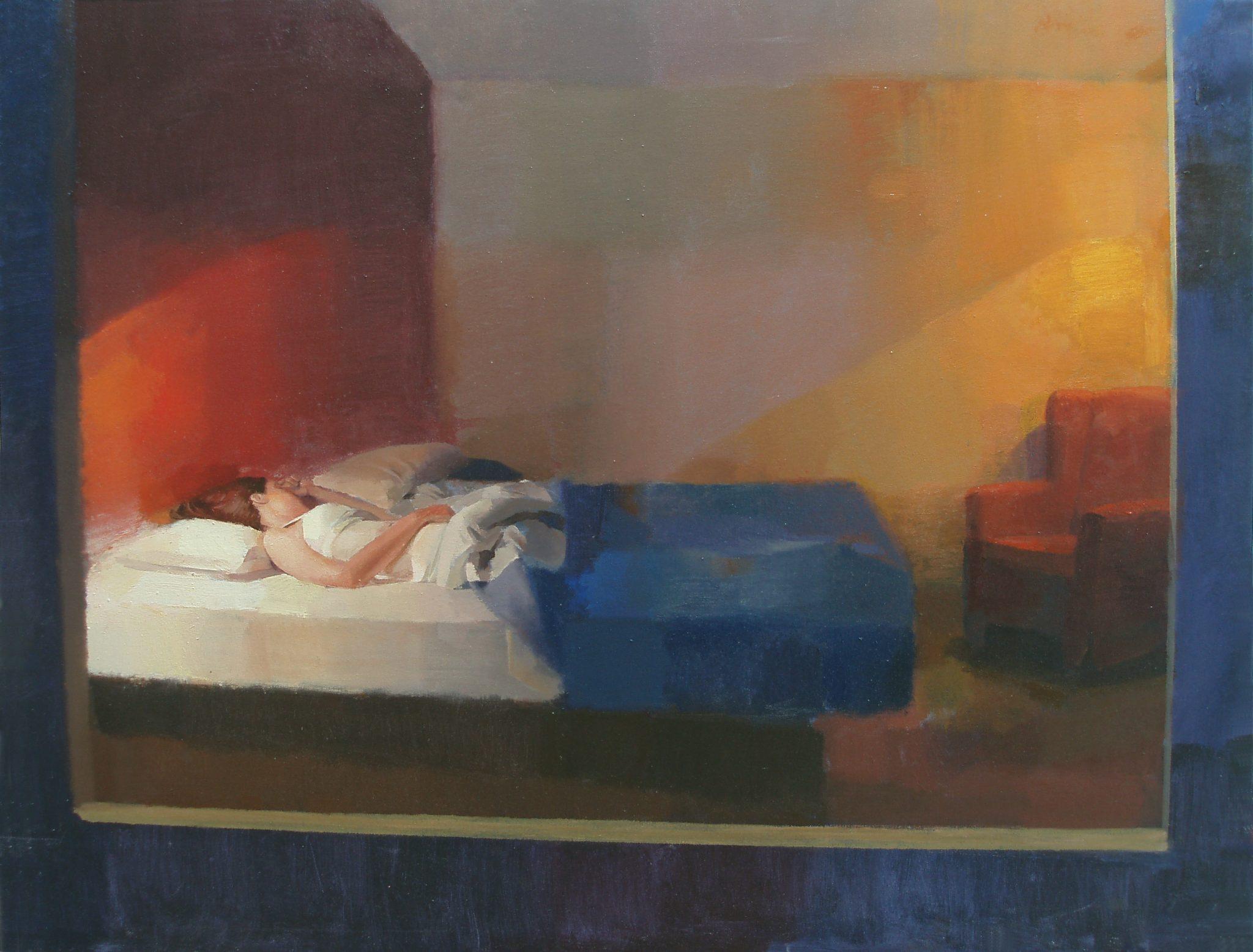 durmiente-alejandra-caballero-oleo-interior-ventana-noche-mujer-dormida-habitación