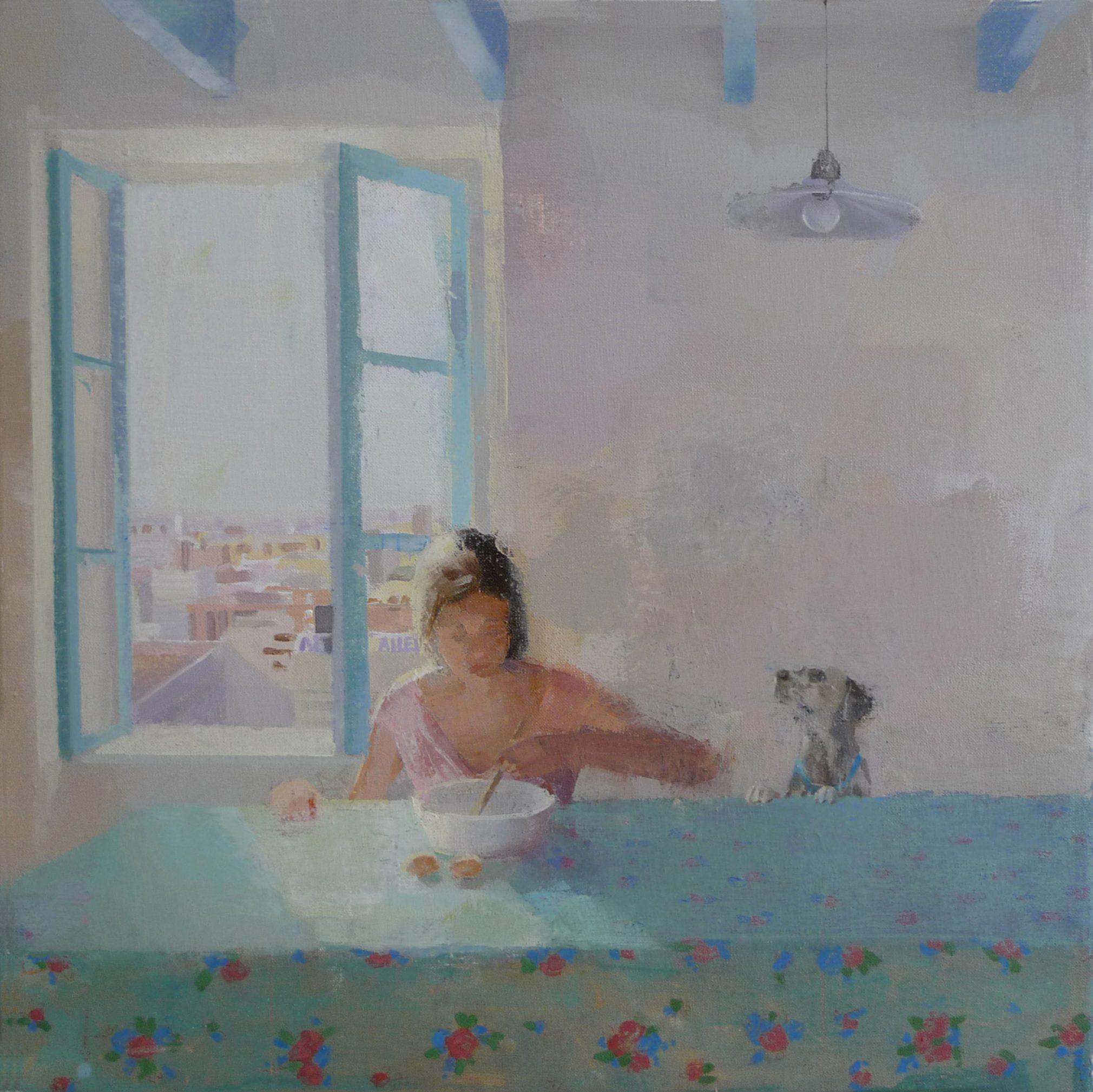 cocina-alejandra-caballero-oleo-mujer-cocinando-mesa-perro-ventana-abierta-luz