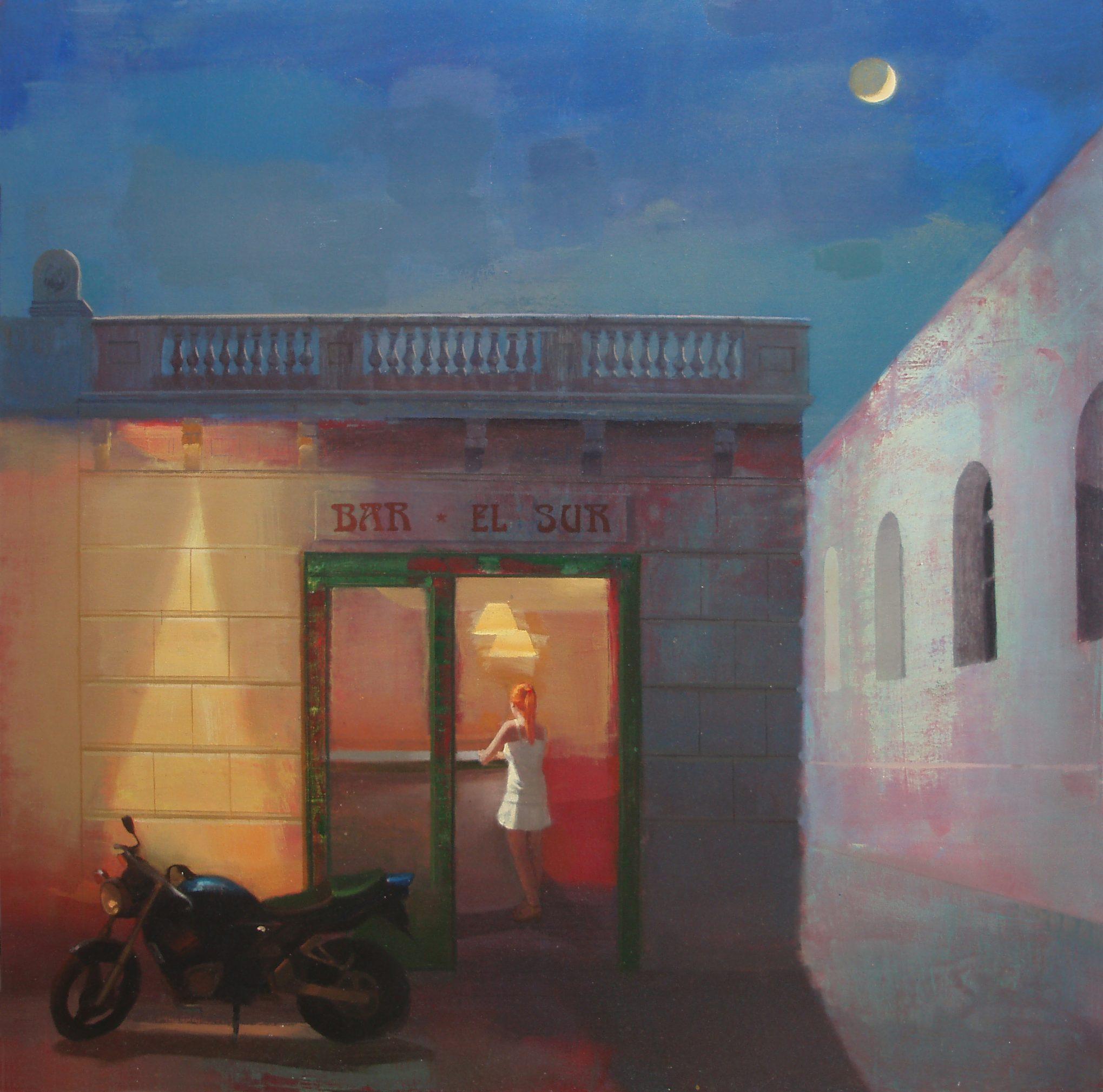 el-sur-alejandra-caballero-oleo-bar-mujer-barra-moto-noche-luna