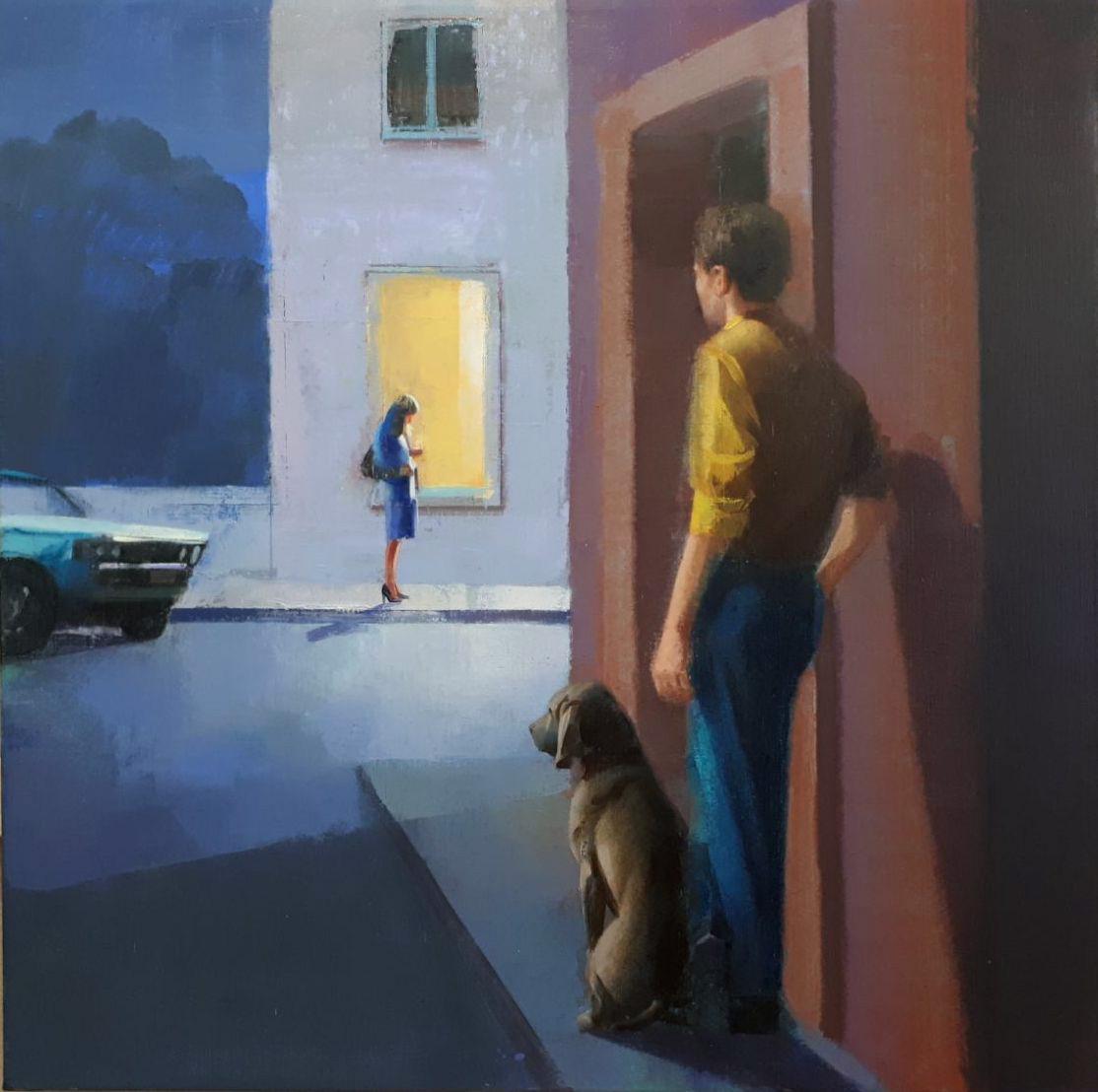 encuentro-alejandra-caballero-oleo-calle-noche-hombre-espaldas-perro-mujer-luz