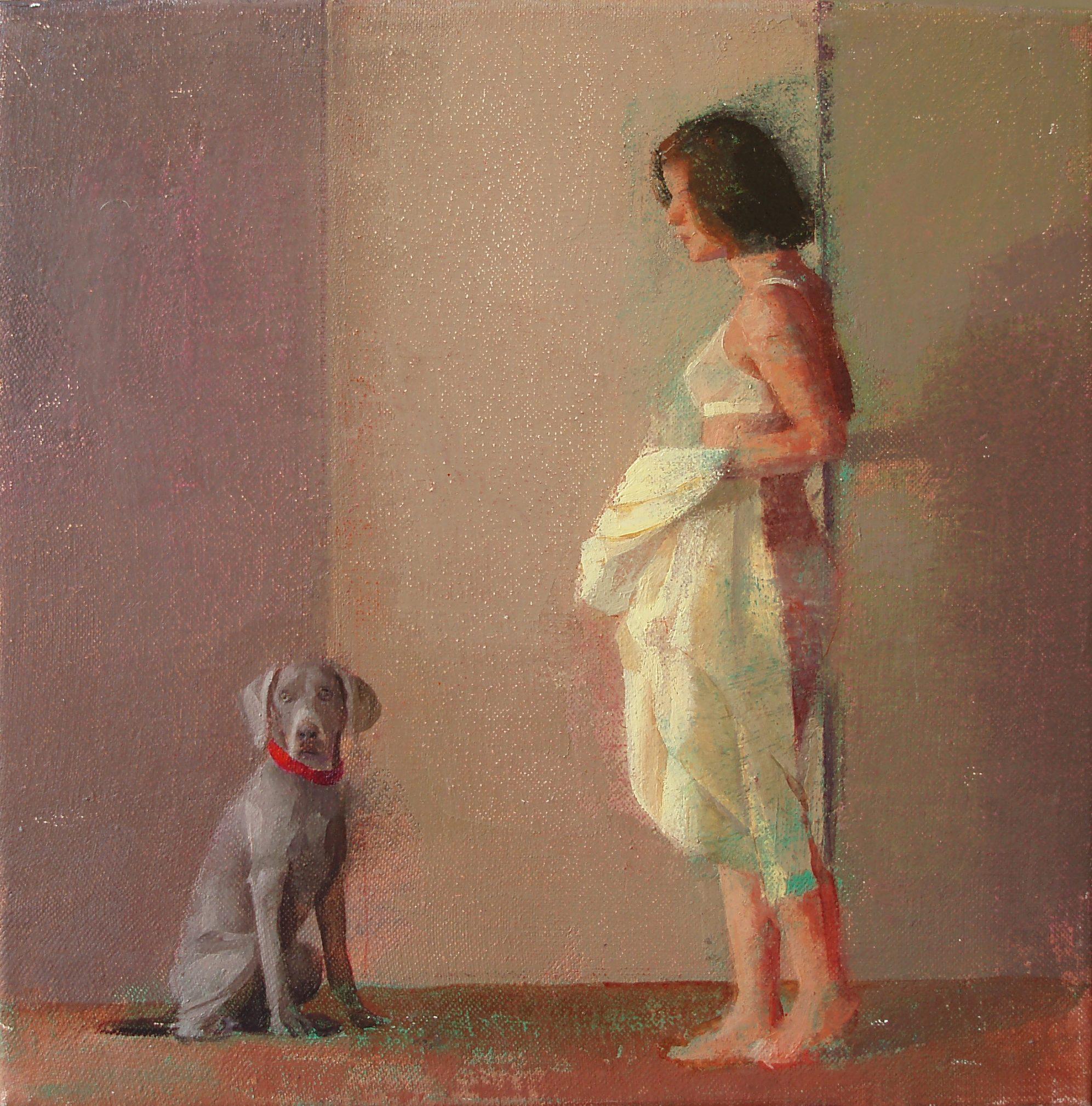 te-espero-alejandra-caballero-oleo-mujer-perro-interior