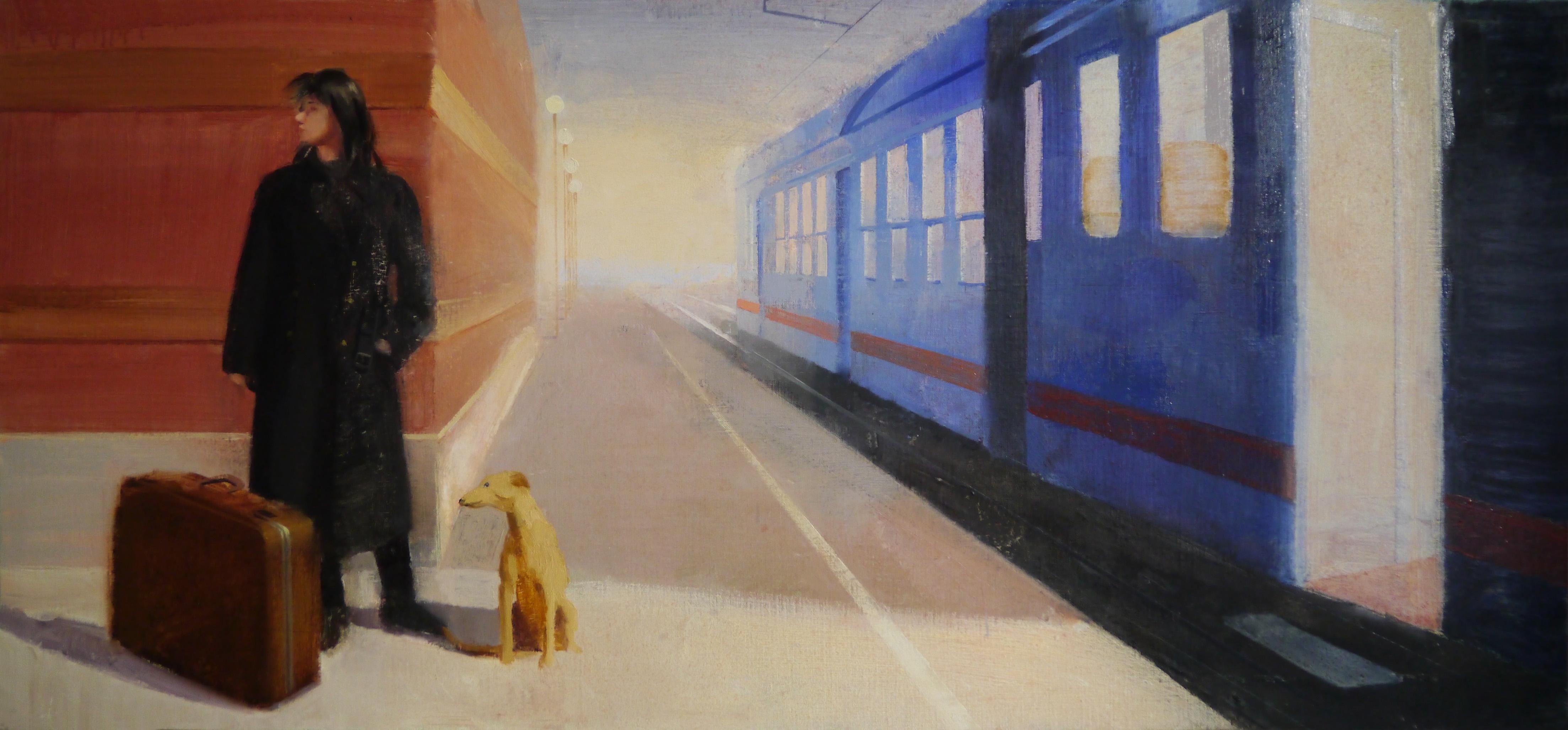 pasajeros-al-tren-estación-viaje-mujer-esperando-maleta-perro-alejandra-caballero-