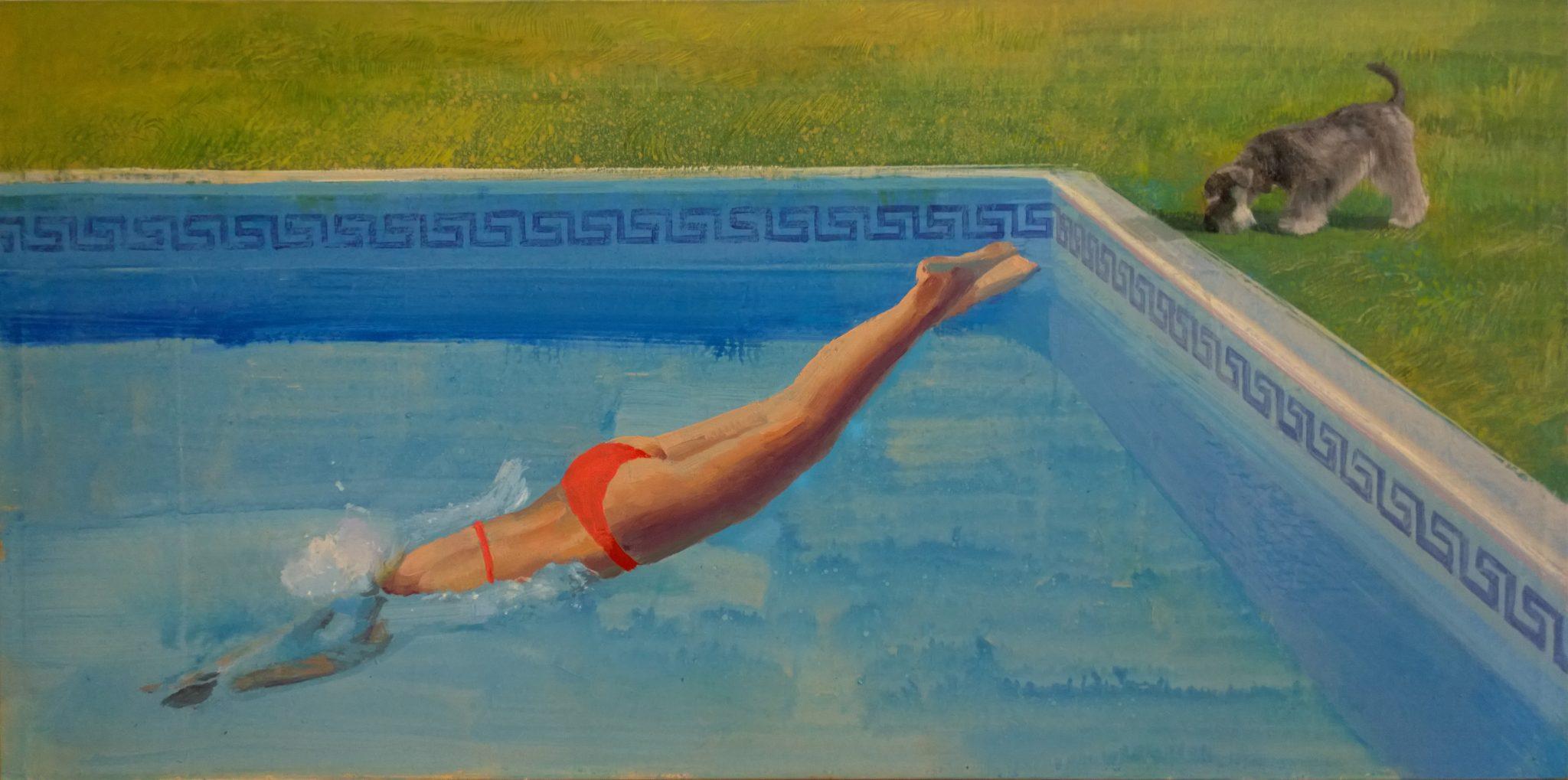 splash-alejandra-caballero-oleo-piscina-de-cabeza-hockney-mujer-bikini-perro