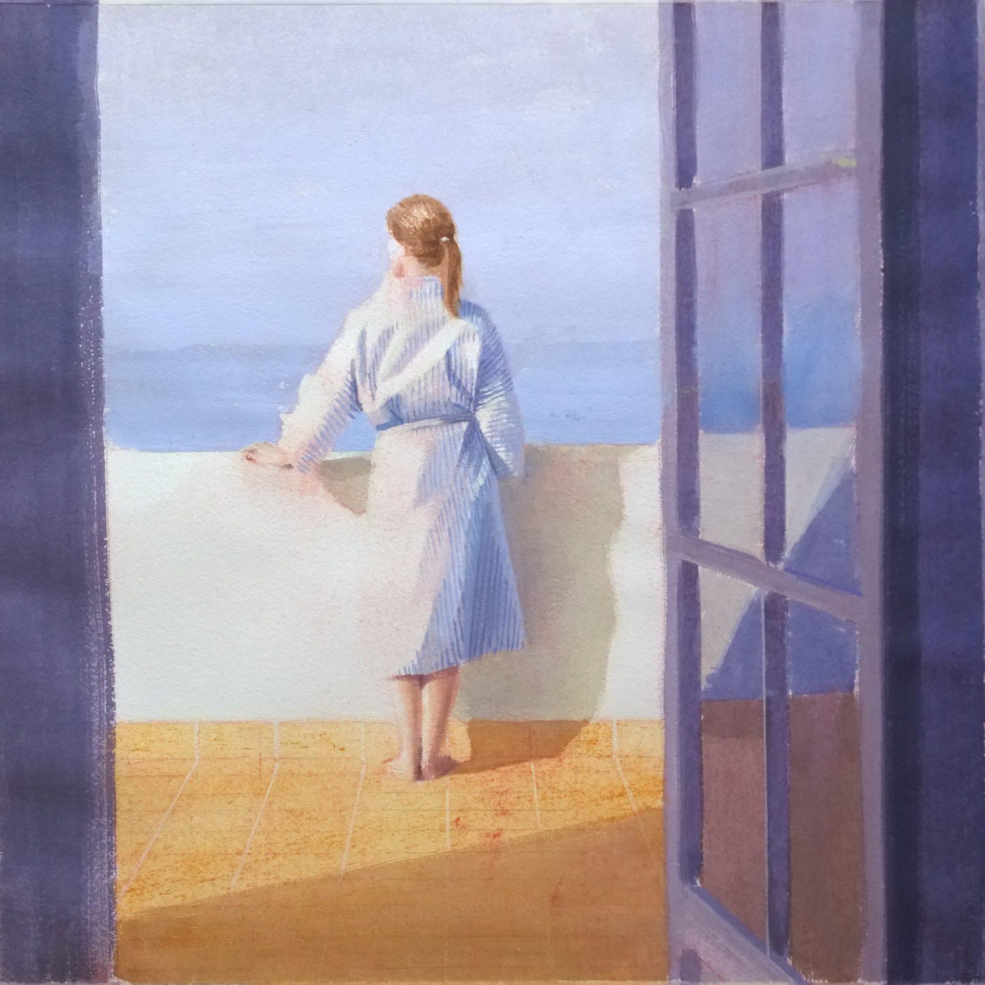 mirando-al-mar-óleo-sobre-papel-alejandra-caballero-mujer-asomada-terraza